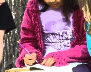 child writes